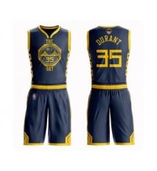 Men's Golden State Warriors #35 Kevin Durant Swingman Navy Blue Basketball Suit 2019 Basketball Finals Bound Jersey - City Edition