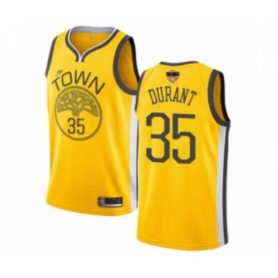 Men's Golden State Warriors #35 Kevin Durant Yellow Swingman 2019 Basketball Finals Bound Jersey - Earned Edition