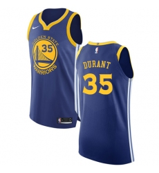 Men's Nike Golden State Warriors #35 Kevin Durant Authentic Royal Blue Road NBA Jersey - Icon Edition