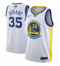 Men's Nike Golden State Warriors #35 Kevin Durant Authentic White Home 2018 NBA Finals Bound NBA Jersey - Association Edition