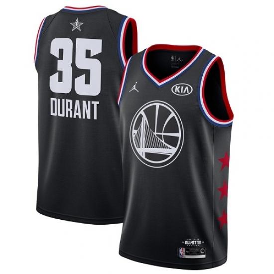 Men's Nike Golden State Warriors #35 Kevin Durant Black Basketball Jordan Swingman 2019 All-Star Game Jersey