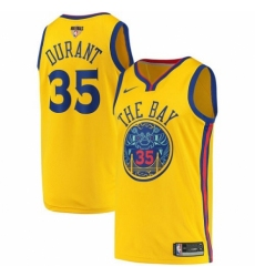Men's Nike Golden State Warriors #35 Kevin Durant Swingman Gold 2018 NBA Finals Bound NBA Jersey - City Edition