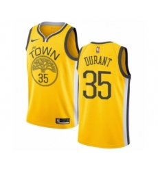 Men's Nike Golden State Warriors #35 Kevin Durant Yellow Swingman Jersey - Earned Edition