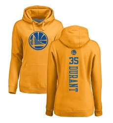 NBA Women's Nike Golden State Warriors #35 Kevin Durant Gold One Color Backer Pullover Hoodie