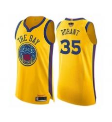 Women's Golden State Warriors #35 Kevin Durant Swingman Gold 2019 Basketball Finals Bound Basketball Jersey - City Edition