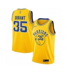 Women's Golden State Warriors #35 Kevin Durant Swingman Gold Hardwood Classics Basketball Jersey