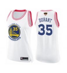 Women's Golden State Warriors #35 Kevin Durant Swingman White Pink Fashion 2019 Basketball Finals Bound Basketball Jersey