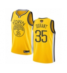 Women's Golden State Warriors #35 Kevin Durant Yellow Swingman 2019 Basketball Finals Bound Jersey - Earned Edition