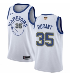 Women's Nike Golden State Warriors #35 Kevin Durant Authentic White Hardwood Classics 2018 NBA Finals Bound NBA Jersey