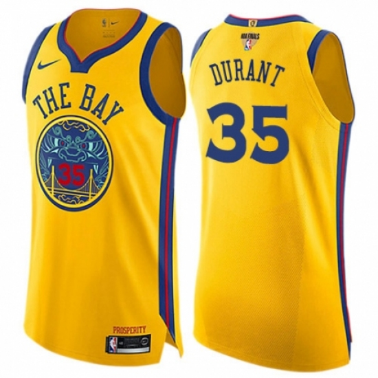 Women's Nike Golden State Warriors #35 Kevin Durant Swingman Gold 2018 NBA Finals Bound NBA Jersey - City Edition