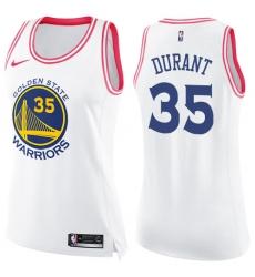 Women's Nike Golden State Warriors #35 Kevin Durant Swingman White/Pink Fashion NBA Jersey