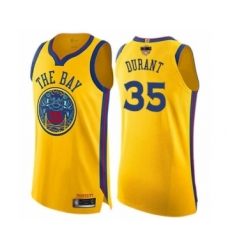 Youth Golden State Warriors #35 Kevin Durant Swingman Gold 2019 Basketball Finals Bound Basketball Jersey - City Edition