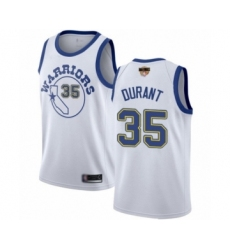 Youth Golden State Warriors #35 Kevin Durant Swingman White Hardwood Classics 2019 Basketball Finals Bound Basketball Jersey