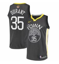 Youth Nike Golden State Warriors #35 Kevin Durant Swingman Black Alternate 2018 NBA Finals Bound NBA Jersey - Statement Edition