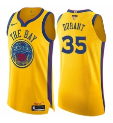 Youth Nike Golden State Warriors #35 Kevin Durant Swingman Gold 2018 NBA Finals Bound NBA Jersey - City Edition
