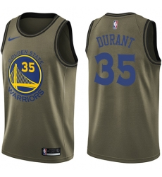 Youth Nike Golden State Warriors #35 Kevin Durant Swingman Green Salute to Service NBA Jersey