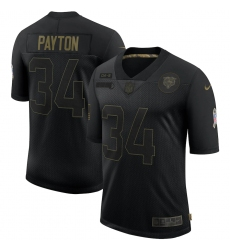 Men's Chicago Bears #34 Walter Payton Black Nike 2020 Salute To Service Limited Jersey