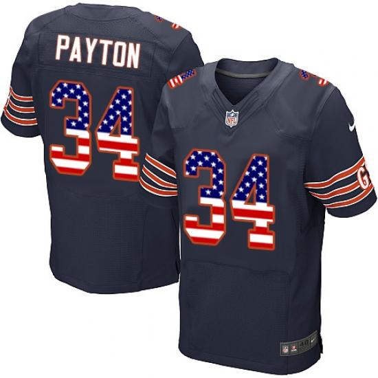 Men's Nike Chicago Bears #34 Walter Payton Elite Navy Blue Home USA Flag Fashion NFL Jersey