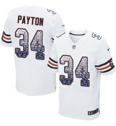 Men's Nike Chicago Bears #34 Walter Payton Elite White Road Drift Fashion NFL Jersey