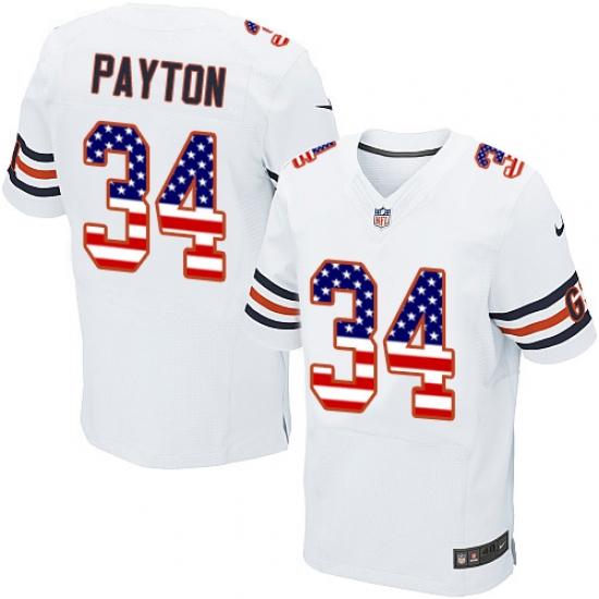 Men's Nike Chicago Bears #34 Walter Payton Elite White Road USA Flag Fashion NFL Jersey