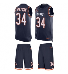 Men's Nike Chicago Bears #34 Walter Payton Limited Navy Blue Tank Top Suit NFL Jersey