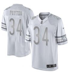 Men's Nike Chicago Bears #34 Walter Payton Limited White Platinum NFL Jersey