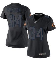 Women's Nike Chicago Bears #34 Walter Payton Limited Black Impact NFL Jersey