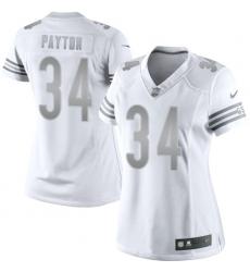 Women's Nike Chicago Bears #34 Walter Payton Limited White Platinum NFL Jersey