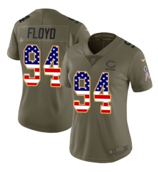 Women's Nike Chicago Bears #94 Leonard Floyd Limited Olive/USA Flag Salute to Service NFL Jersey
