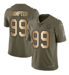 Youth Nike Chicago Bears #99 Dan Hampton Limited Olive/Gold Salute to Service NFL Jersey