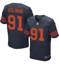 Men's Nike Chicago Bears #91 Eddie Goldman Elite Navy Blue Alternate NFL Jersey