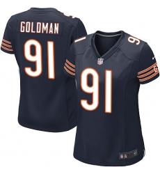 Women's Nike Chicago Bears #91 Eddie Goldman Game Navy Blue Team Color NFL Jersey