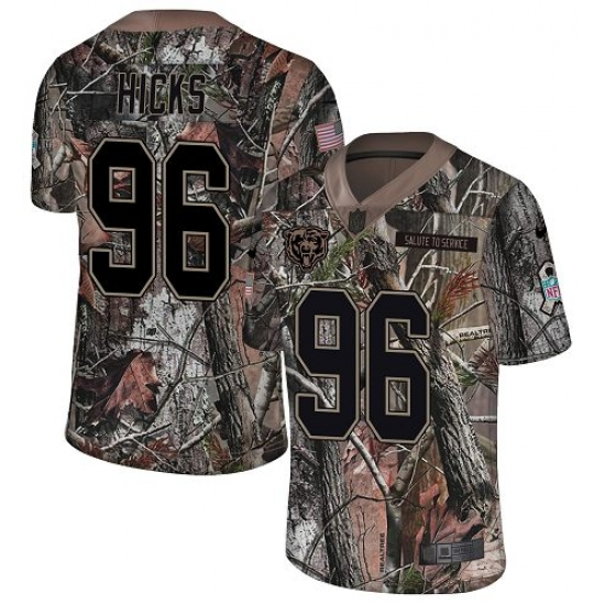 Men's Nike Chicago Bears #96 Akiem Hicks Limited Camo Rush Realtree NFL Jersey