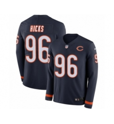 Men's Nike Chicago Bears #96 Akiem Hicks Limited Navy Blue Therma Long Sleeve NFL Jersey