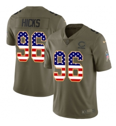 Men's Nike Chicago Bears #96 Akiem Hicks Limited Olive/USA Flag Salute to Service NFL Jersey