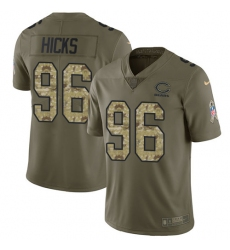 Youth Nike Chicago Bears #96 Akiem Hicks Limited Olive/Camo Salute to Service NFL Jersey