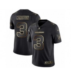 Men Tampa Bay Buccaneers #3 Jameis Winston Black Golden Edition 2019 Vapor Untouchable Limited Jersey