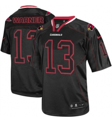 Men's Nike Arizona Cardinals #13 Kurt Warner Elite Lights Out Black NFL Jersey
