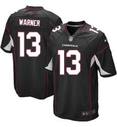 Men's Nike Arizona Cardinals #13 Kurt Warner Game Black Alternate NFL Jersey