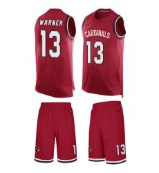 Men's Nike Arizona Cardinals #13 Kurt Warner Limited Red Tank Top Suit NFL Jersey