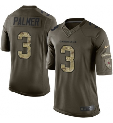 Men's Nike Arizona Cardinals #3 Carson Palmer Elite Green Salute to Service NFL Jersey