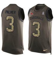 Men's Nike Arizona Cardinals #3 Carson Palmer Limited Green Salute to Service Tank Top NFL Jersey