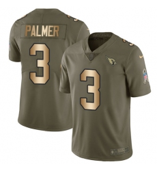 Men's Nike Arizona Cardinals #3 Carson Palmer Limited Olive/Gold 2017 Salute to Service NFL Jersey