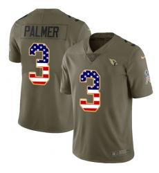 Men's Nike Arizona Cardinals #3 Carson Palmer Limited Olive/USA Flag 2017 Salute to Service NFL Jersey
