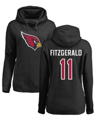 NFL Women's Nike Arizona Cardinals #11 Larry Fitzgerald Black Name & Number Logo Pullover Hoodie