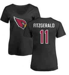 NFL Women's Nike Arizona Cardinals #11 Larry Fitzgerald Black Name & Number Logo T-Shirt