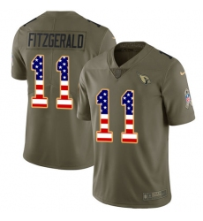 Youth Nike Arizona Cardinals #11 Larry Fitzgerald Limited Olive/USA Flag 2017 Salute to Service NFL Jersey