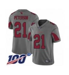 Men's Arizona Cardinals #21 Patrick Peterson Limited Silver Inverted Legend 100th Season Football Jersey