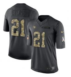 Men's Nike Arizona Cardinals #21 Patrick Peterson Limited Black 2016 Salute to Service NFL Jersey