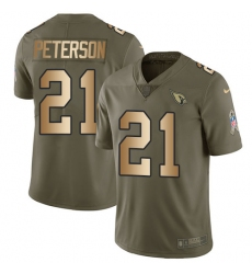 Men's Nike Arizona Cardinals #21 Patrick Peterson Limited Olive/Gold 2017 Salute to Service NFL Jersey